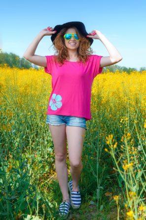 Różowy t-shirt dla kobiet