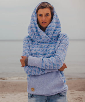 Kamila wearing surf hoodie bombora at the baltic surf sea