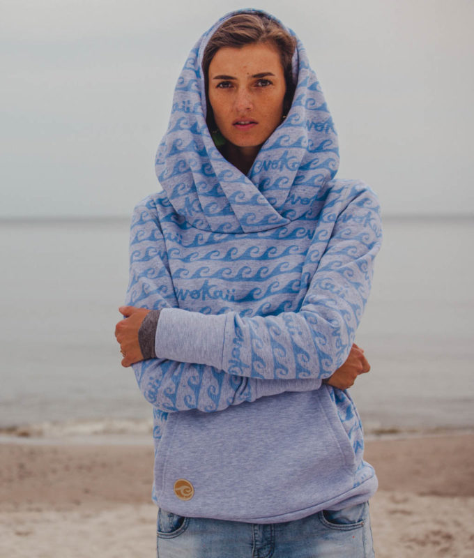 Kamila wearing surf hoodie bombora at the baltic surf sea