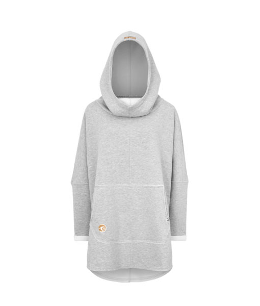 Oversized Hoodie with Surf Wave Pattern and Kangoo Pockets - Grey Front Picture