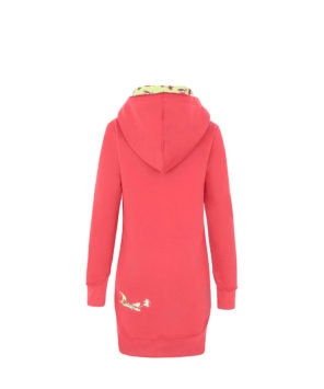 Evokaii Women Surf Style Long Tailed Hoodie - Freestyle Coral Front
