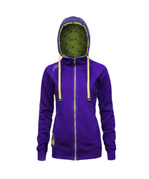Evokaii Women Surf Style Zipper Hoodie - Wave Purple Front