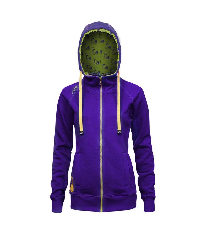 Evokaii Women Surf Style Zipper Hoodie - Wave Purple Front