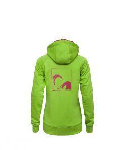 Evokaii Women Surf Style Zipper Hoodie - Wave Green Back