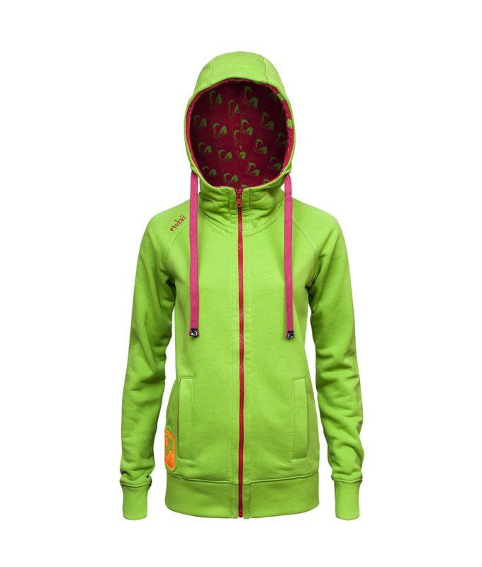 Evokaii Women Surf Style Zipper Hoodie - Wave Green Front