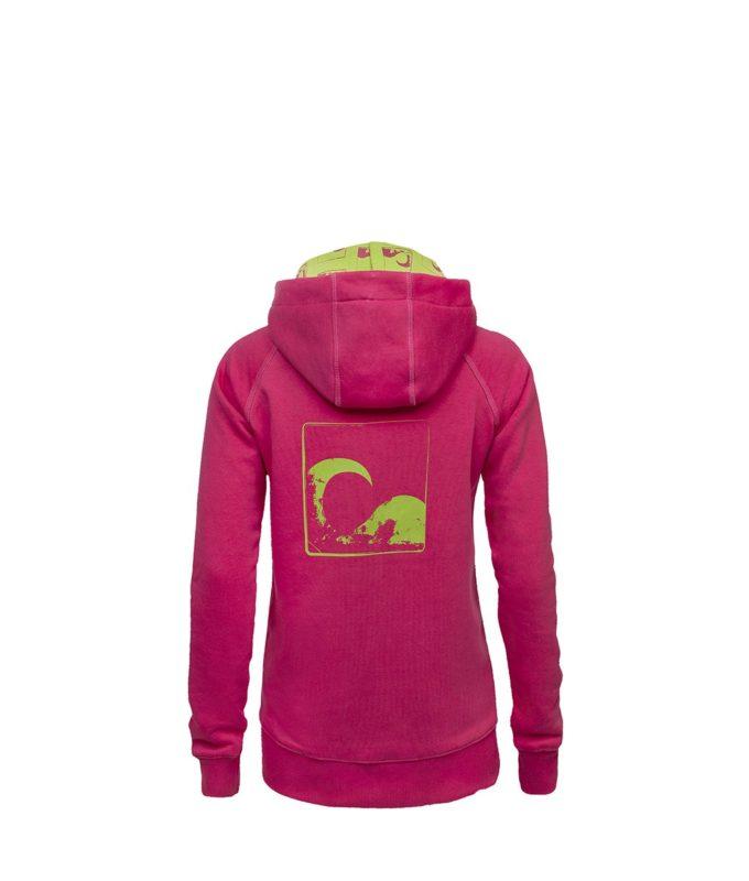 Evokaii Women Surf Style Zipper Hoodie - Wave Pink Back