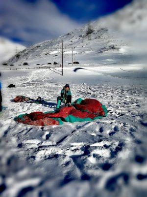 Nadine Stippler setting up her Snowkite gear