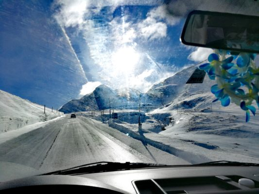 Nadine Driving Up Bernina Pass