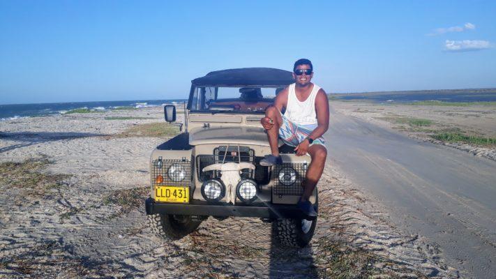 Martin on his Jeep at Mayapo Kitesurf Spot