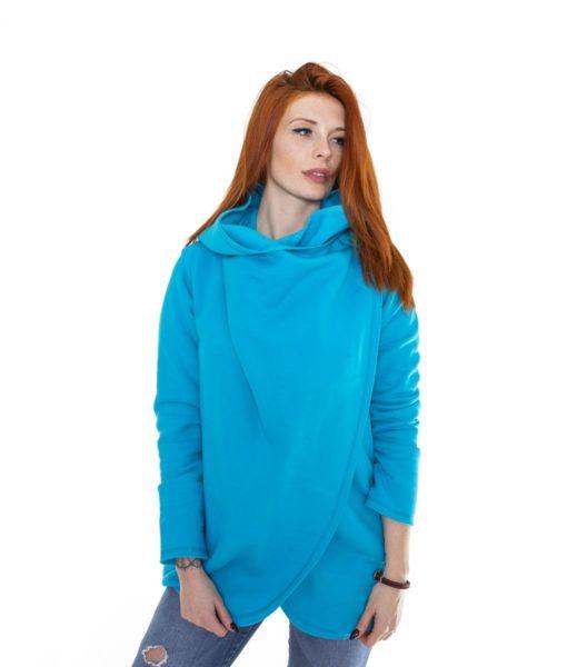Niebieski płaszcz damski