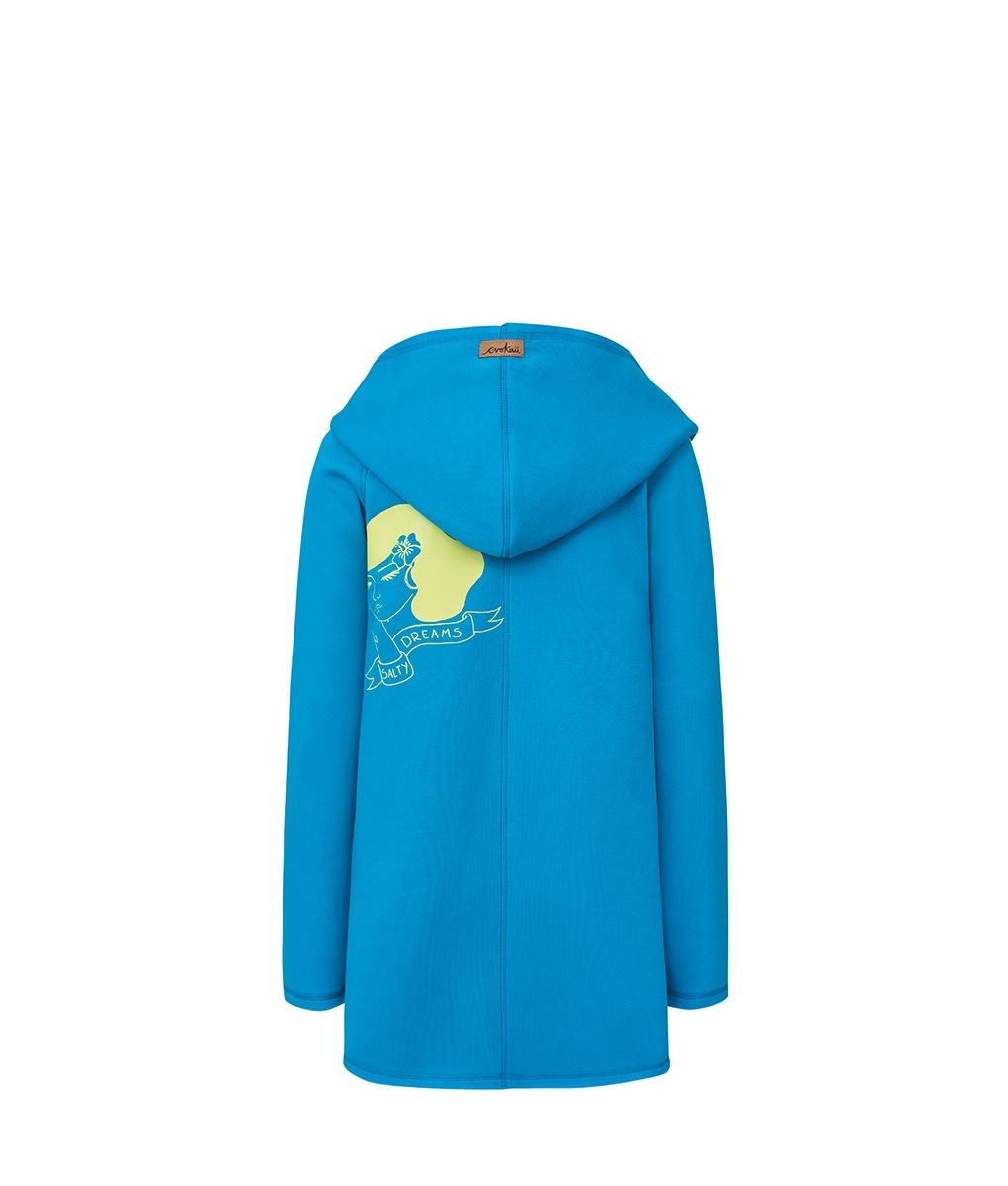 Damski niebieski płaszcz - tył