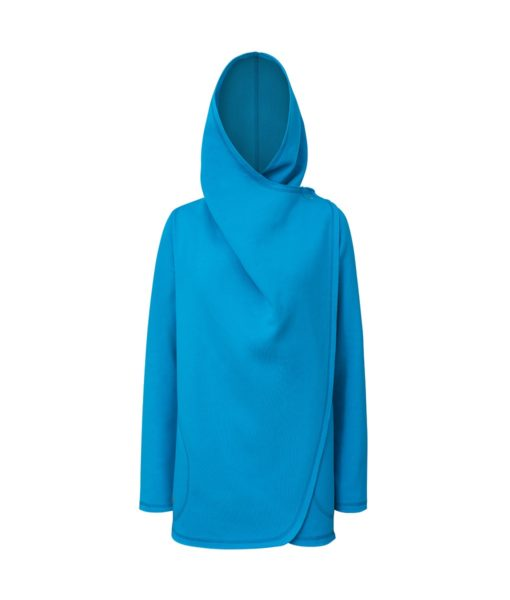 Damski niebieski płaszcz - zapięty