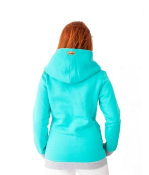 Patricia wearing surf hoodie bombora in ocean colour shown from the back
