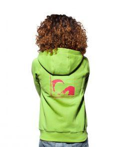 Surf Model Wearing Evokaii Zipper Wave Surf Hoodie Seen From The Back In Green Colour
