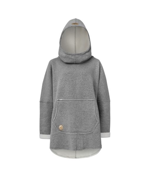 Oversized Hoodie with Kangoo Pockets - Grey Front Picture