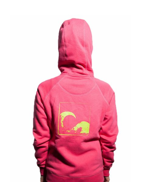Surf Model Wearing Evokaii Zipper Wave Hoodie Seen From The Back In Pink Colour