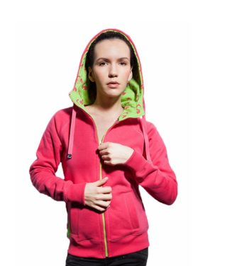 Surf Model Wearing Evokaii Zipper Wave Hoodie Seen From The Front In Pink Colour