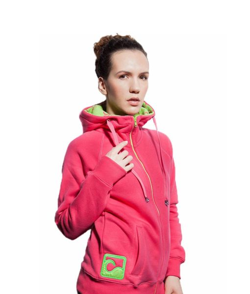Surf Model Wearing Evokaii Zipper Wave Hoodie Seen From The Side In Pink Colour