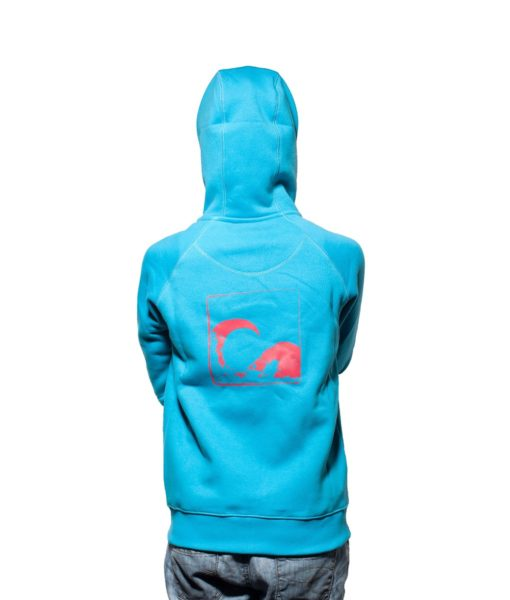 Surf Model Wearing Evokaii Zipper Wave Hoodie Seen From The Back In Blue Colour