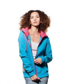 Surf Model Wearing Evokaii Zipper Wave Hoodie Seen From The Front In Blue Colour