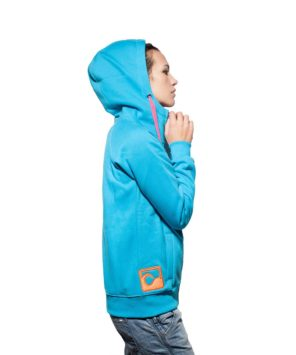 Surf Model Wearing Evokaii Zipper Wave Hoodie Seen From The Side In Blue Colour