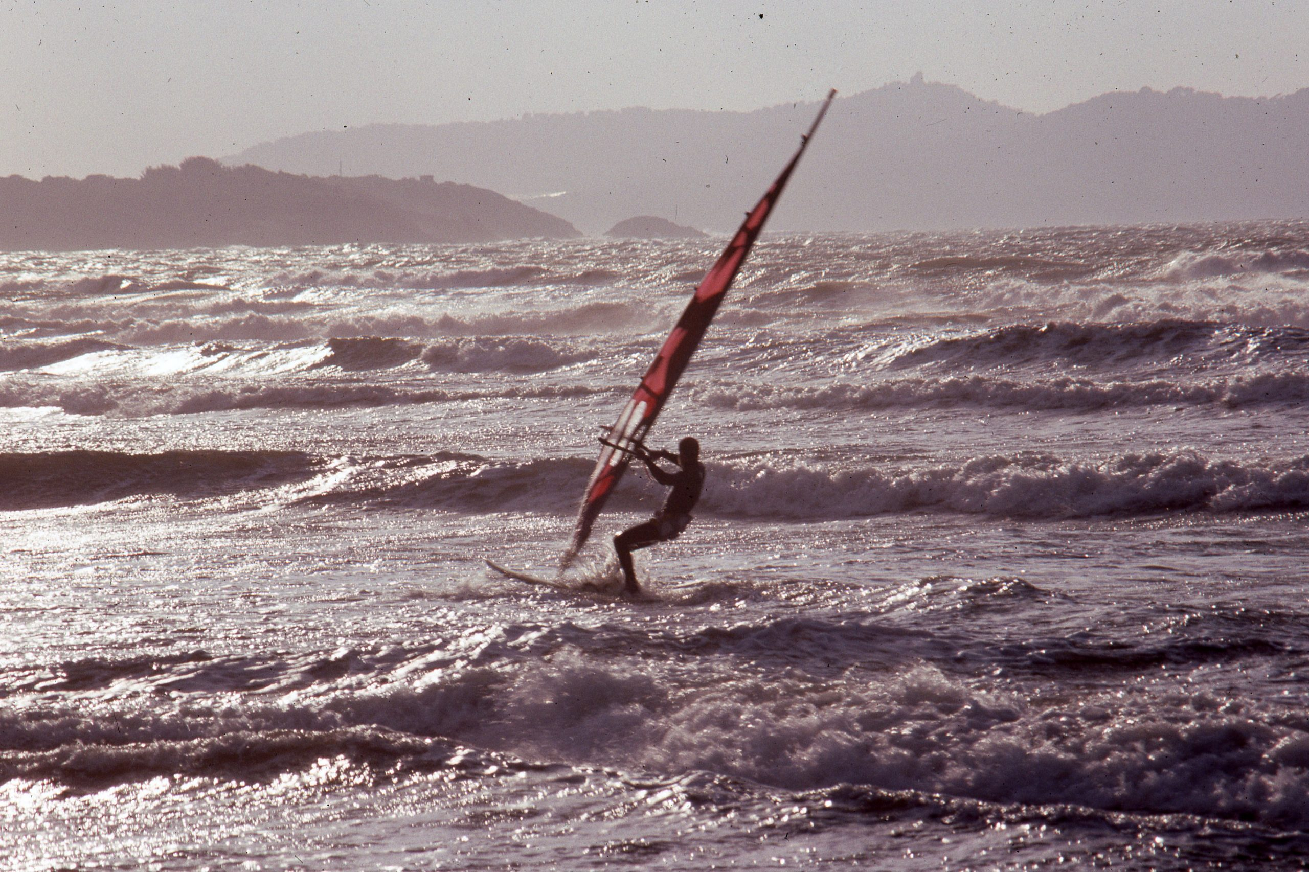 Windsurfing during cold weather in South France