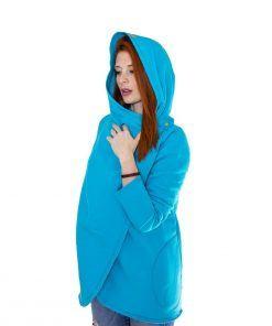 Damski niebieski płaszcz