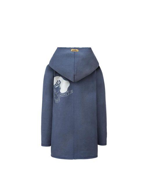 Ciemnoszary płaszcz damski - tył