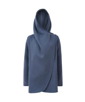Ciemnoszary płaszcz damski - zapięty