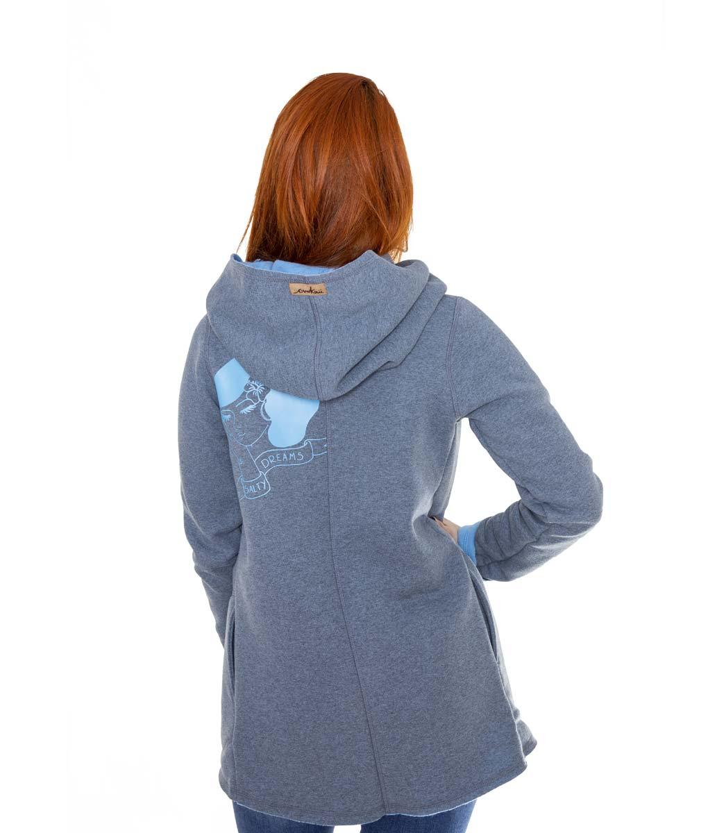 szaro-niebieski płaszcz - tył