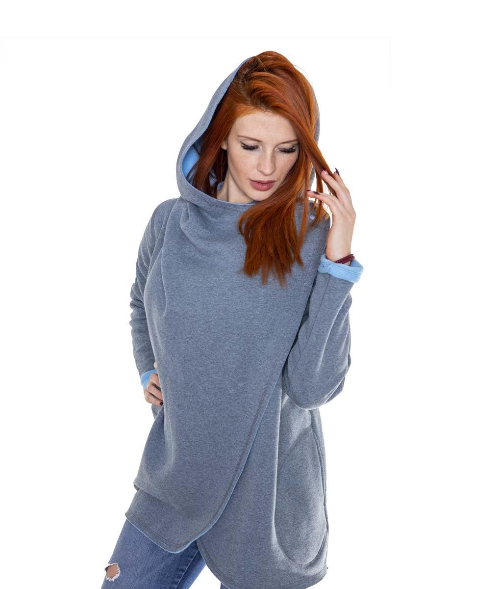 szaro-niebieski płaszcz - przód