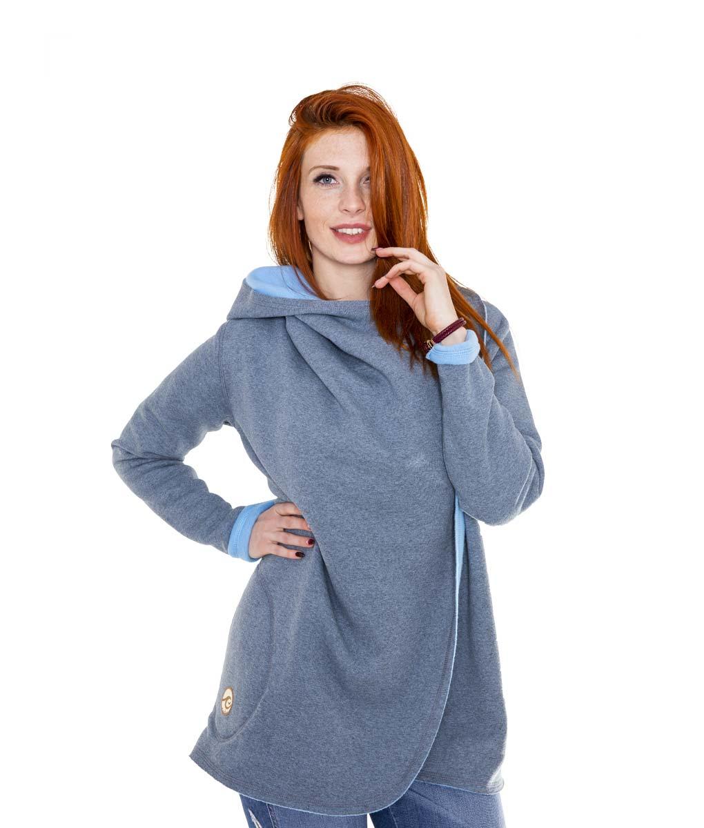 szaro-niebieski płaszcz damski