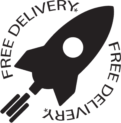 Showing A Rocket With Slogan Free Delivery
