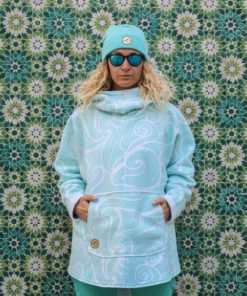 Surf Girl Wearing Oversized Surf Hoodie Waves Mint Colour in Tarifa