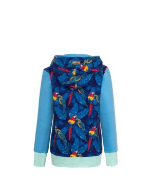 Cotton Hoodie Blue With Parrots Design Back