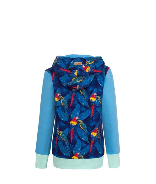 Cotton Hoodie Blue With Parrots Design Back
