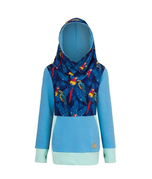Cotton Hoodie Blue With Parrots Design Front