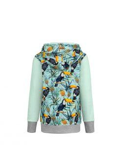 Cotton Hoodie Mint With Tropical Toucan Design Back