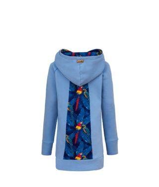 Long Cotton Hoodie Blue With Parrots Design Back