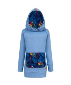Long Cotton Hoodie Blue With Parrots Design Front