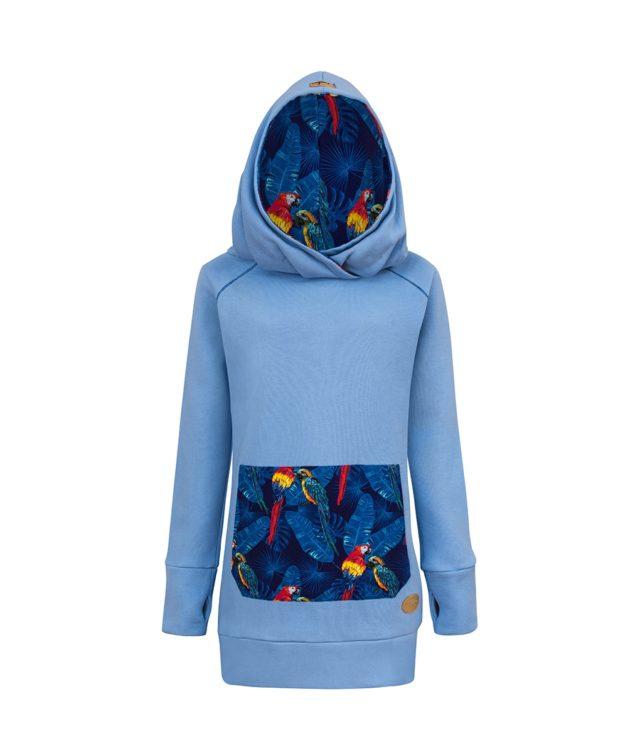 Long Cotton Hoodie Blue With Parrots Design Front