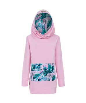 Long Cotton Surf Hoodie Pink With Pink Feathers Design Front