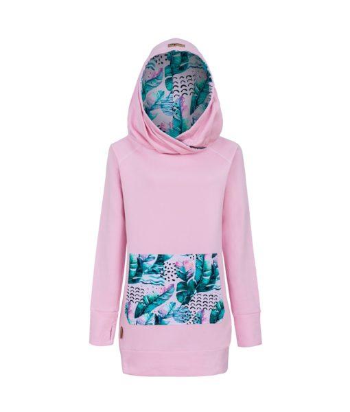 Różowa bluza: Candy Long Pink Feathers - przód