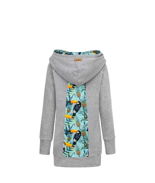 Long Cotton Hoodie Grey With Tropical Toucan Design Back