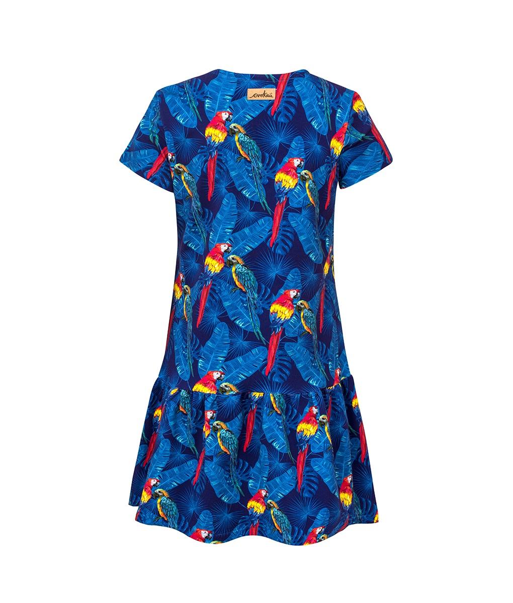 Cotton Dress Parrots Blue Back