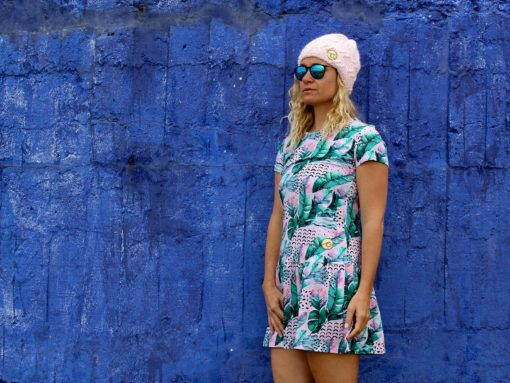 Surf Girl Dress Pink Feathers Blue Wall