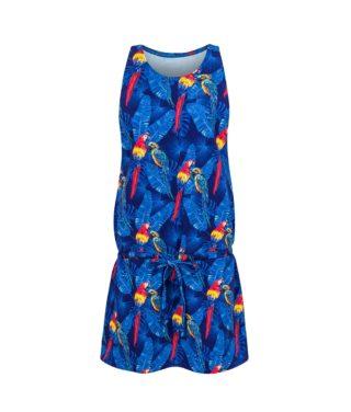 Cotton Dress Parrots Blue Front