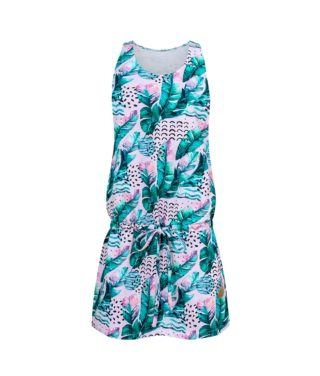 Cotton Dress Pink Feathers Front