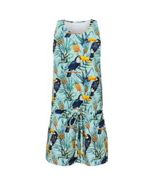 Cotton Dress Tropical Toucan Mint Front