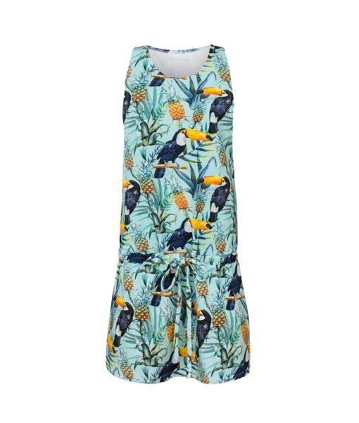 Cotton Dress Tropical Toucan Mint Front